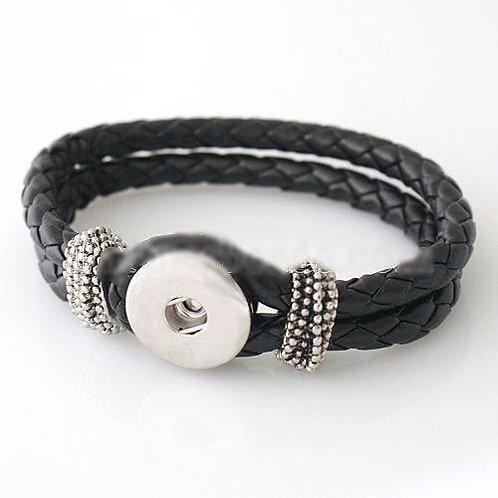 Single snap leather bracelet