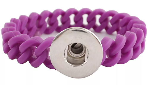 Single Snap - 12mm Wide - Silicone Stretch Bracelet Fit 18-20mm + 3 FREE SNAPS