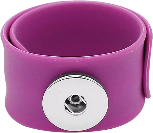 Purple Single Snap Silicone Slap Bracelet+ 3 FREE SNAPS