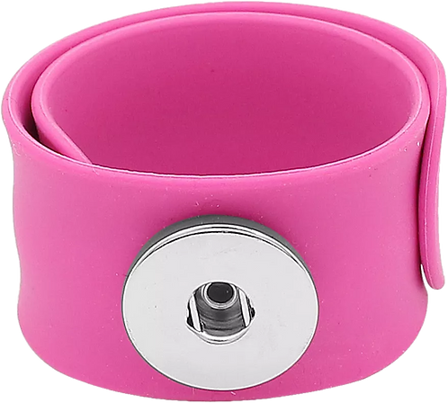 Pink Single Snap Silicone Slap Bracelet+ 3 FREE SNAPS