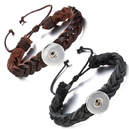 Adjustable Weaving Leather Single Snap Bracelet Fits 18/20mm + 3 FREE SNAPS!