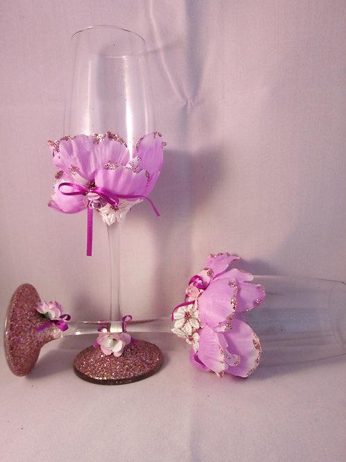 Pink Floral Flutes
