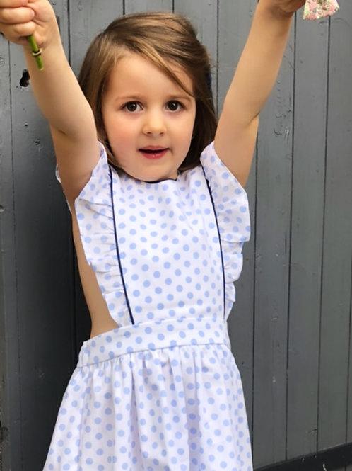 Emma, robe pois bleus