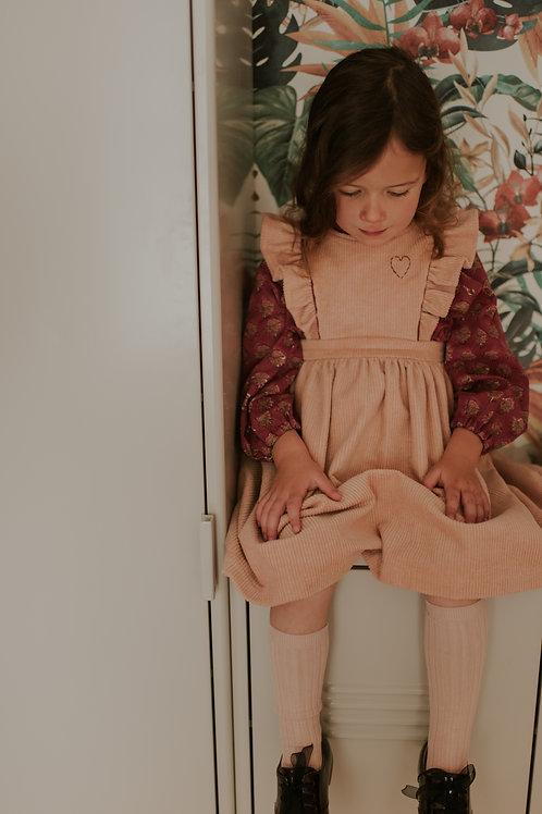 Robe Aimée, velours rose