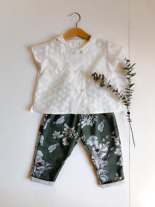 Pantalon Lucien, vert fleuri