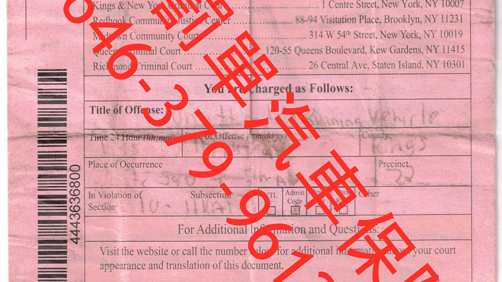 紐約刑事罰單 New York Criminal Driving violation