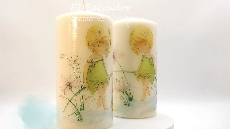 Young girl gazing into pond Candle set of two