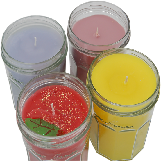 Four home made recycled scented candles in glass jars