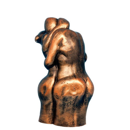 A wax model of two lovers in an embrace - bronzed