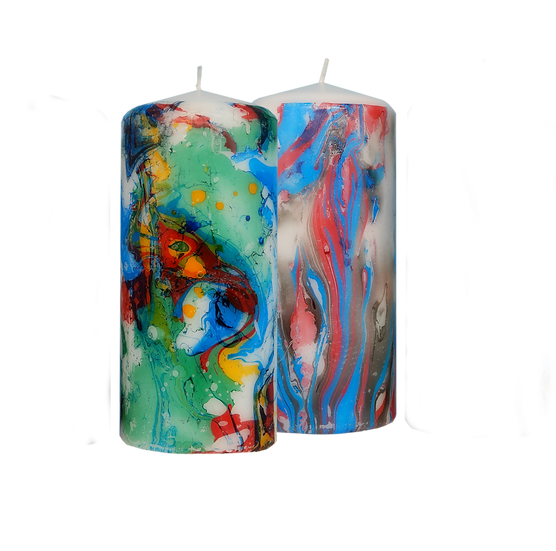 A set of two marbled affect decorative 60 hour candles (m1)