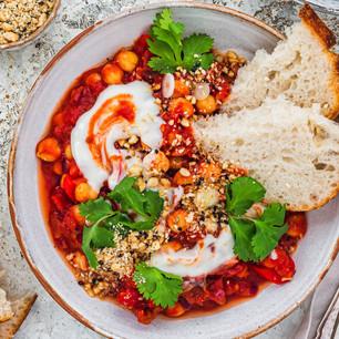 Vegan shakshuka recipe with red pepper and sun-dried tomatoes