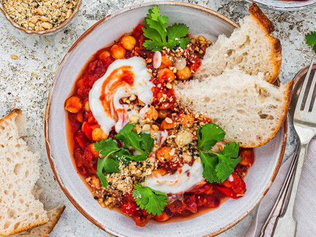 Vegan shakshuka recipe with red pepper and sun-dried tomatoes