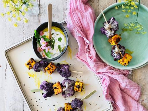 Cosmic cauliflower curried tofu kebabs recipe