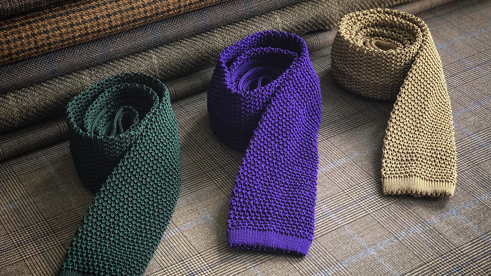 Knitted Silk Tie (Square Tip)