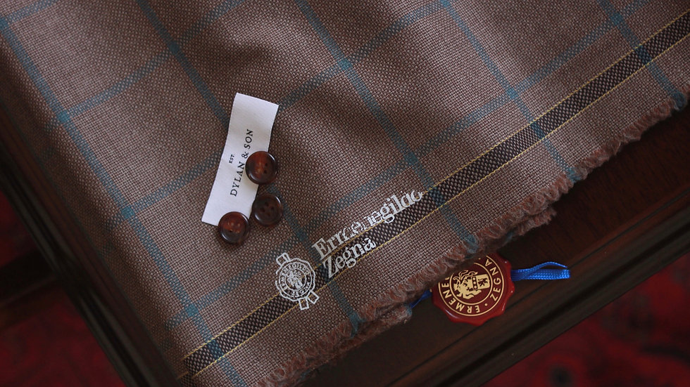 Brown Windowpane Hopsack Jacketing, Zegna (1.75 meters)