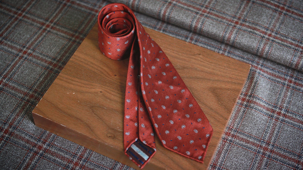 Orange/Silver Paisley Tie