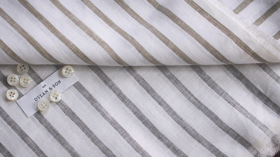 Wide Stripe Linen Shirting (1.8 meters)