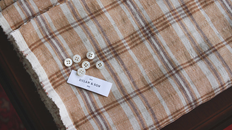 Brown Plaids Linen Shirting (1.8 meters)
