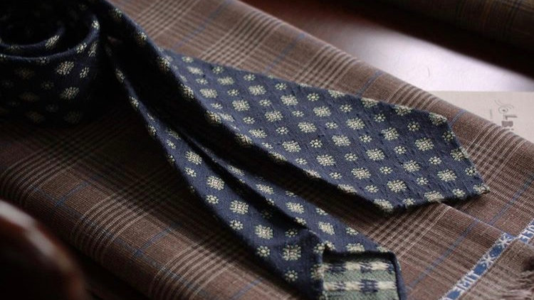 Navy with Mint Flowers Tie