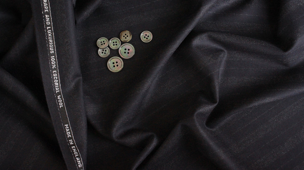 Midnight Shadow Stripe Suiting, Escorial (1.9 meters and 1.45 meters)