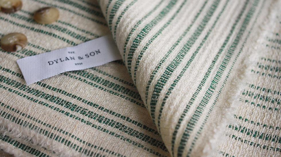 Ecru-Green Stripe Jacketing (2.6 meters)