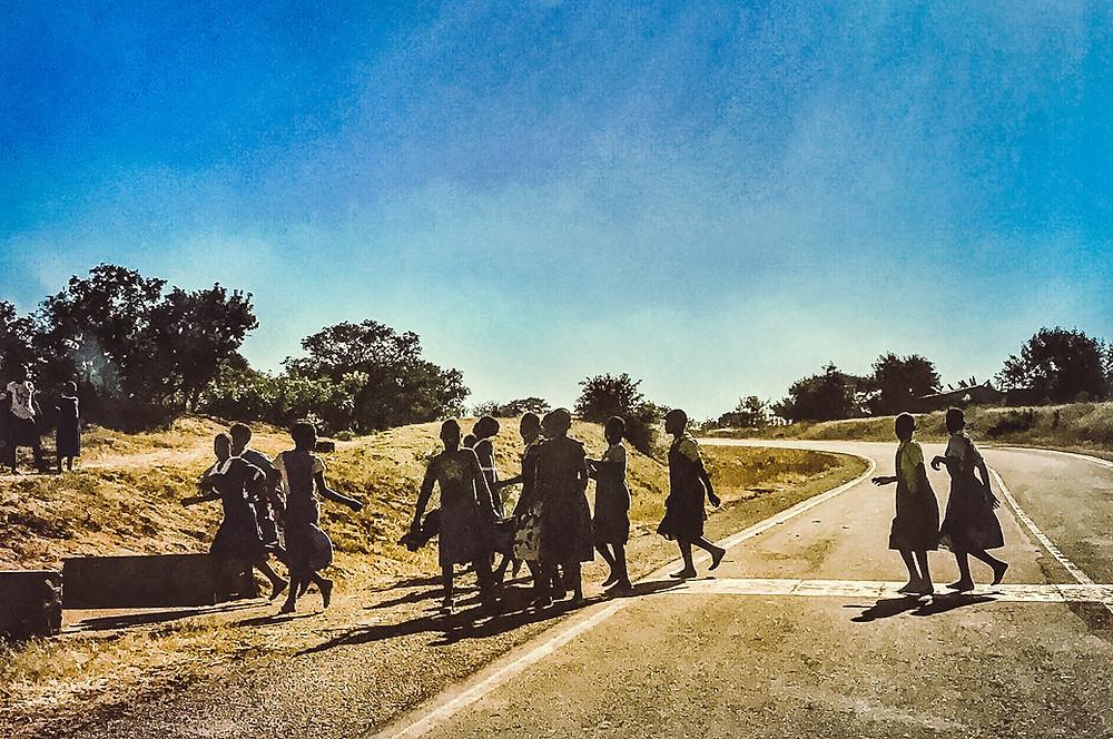 Malawian girls on their way to school near Lilongwe
