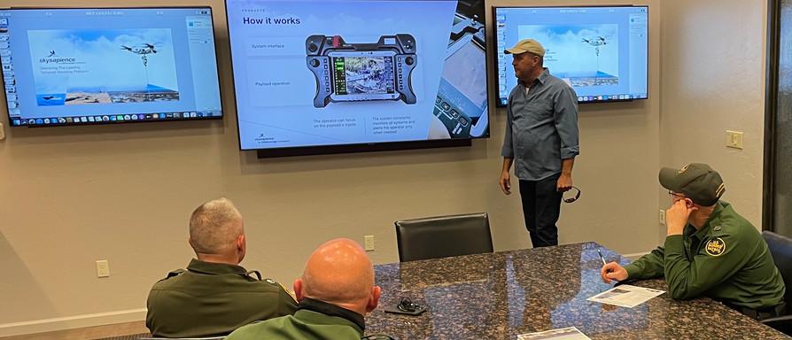 Dan Hodges giving briefing on HoverMast.
