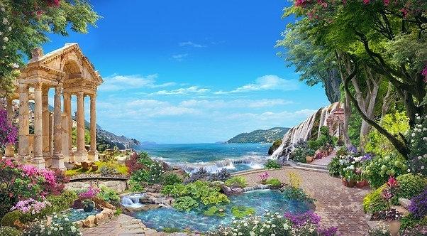 Фреска. Сад. Озеро. Колонны. Руины. Цветы. Вид на море