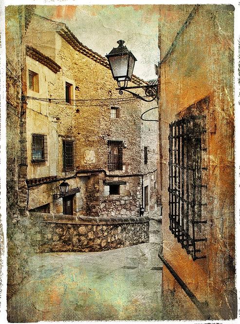 Средневековая улочка в живописном стиле