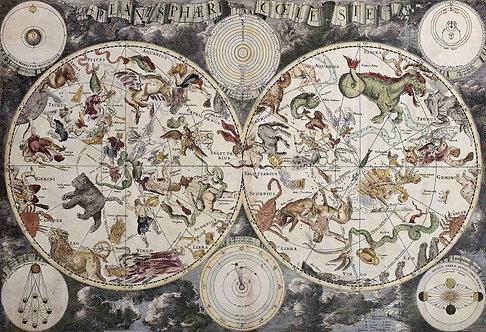 Старинная карта неба с созвездиями и знаками Зодиака