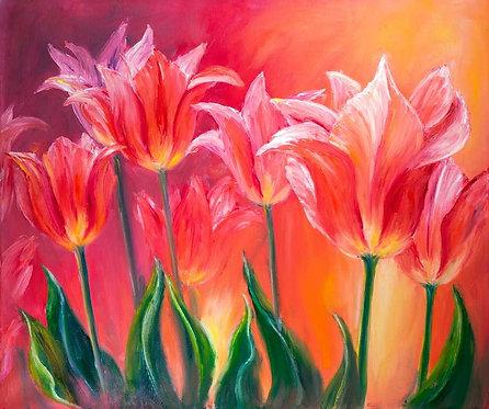 Живопись маслом на холсте с красными тюльпанами