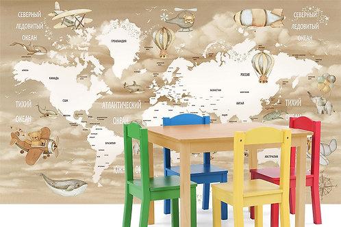 Фотообои. Карта в детскую. Коллекция FUN FLIGHT