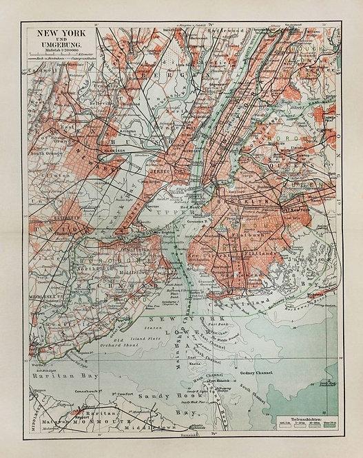 Старая карта Нью-Йорка конца 19 века