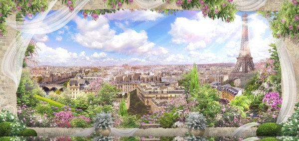 Фреска с цветами - вид Парижа из окна в разрушенной каменной стене