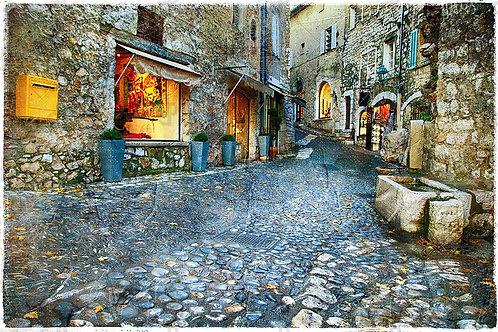 Старый городок Сен-Поль-де-Ванс во Франции в живописном стиле