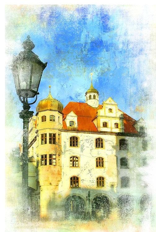 Уличный фонарь в старом Мюнхене в живописном стиле - Германия