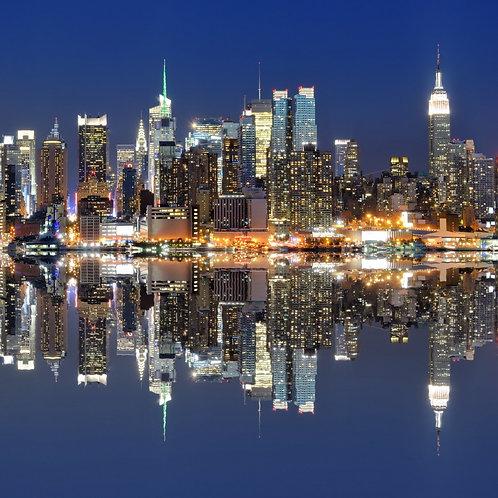 Вид на Нью-Йорк из-за реки Гудзон