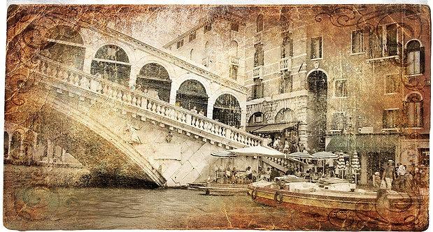 Венеция и мост Риальто в ретро-стиле
