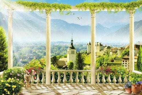 Фреска. Терраса. Колонны. Цветы. Балюстрада. Старый город. Вид на горы