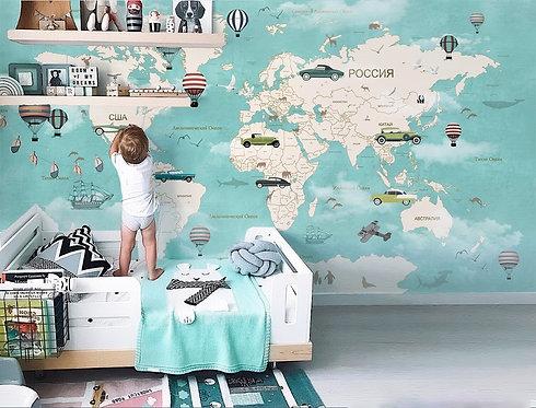 Фотообои. Карта для детей. Коллекция LITTLE RACE