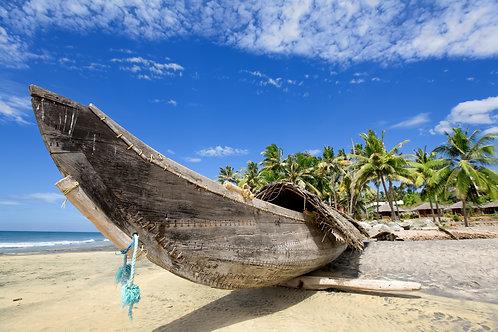 Рыбацкая лодка на солнечном пляже с зелеными пальмами возле океана