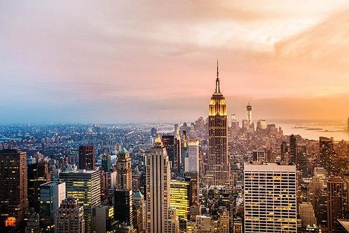 Вид небоскребов Нью-Йорка на закате