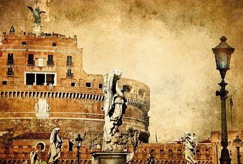 Замок Святого Ангела в Риме в винтажном стиле