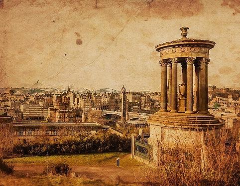 Мемориал Дугалда Стюарта, Эдинбург. Винтажное фото в сепии