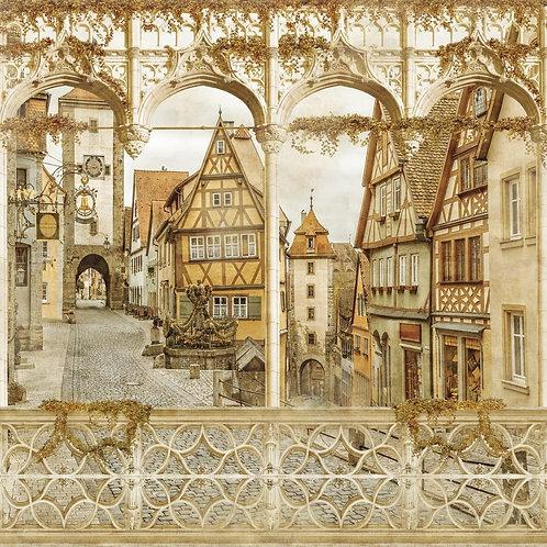 Фреска. Арки с колоннами. Вид на улочку старого города
