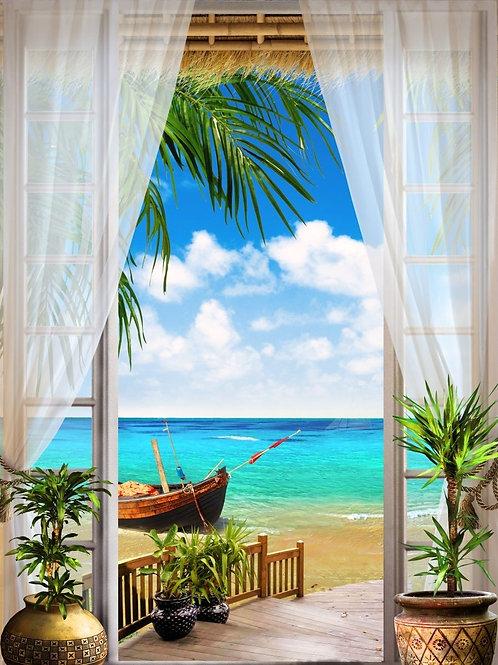 Фреска с видом из окна на море