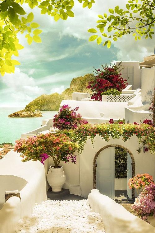 Фотообои. Фрески. Картины. Цветущий сад. Греческий дворик. Морской пейзаж