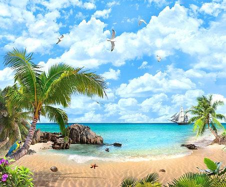 Вид на море, тропический пляж и парусник