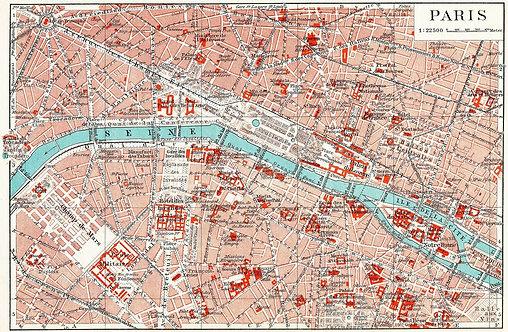 Старая карта центра Парижа