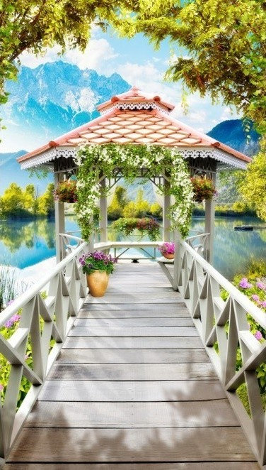 Фотообои. Фрески. Картины. Терраса. Беседка. Цветы. Озеро. Перспектива